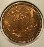 1937 GREAT BRITIAN UNCIRCULATED HALF CENT, MOSTLY RED !! NICE !!
