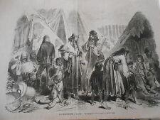 Gravure 1872 - Les Bohémiens à Paris Le campement de la Porte Saint Ouen
