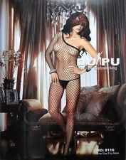 Sexy Black DUPU Fishnet Crotchless One Long Sleeve Body Stocking One Size 8116