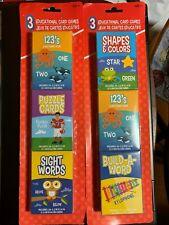 EDUCATIONAL CARD GAMES 3-PACKS NIP MAKE LEARNING FUN! MATCHING, PUZZLES & MORE!