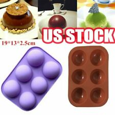 6 Cavity Half Ball Sphere Cake Silicone Mold Muffin Chocolate Baking Pan Mould Y