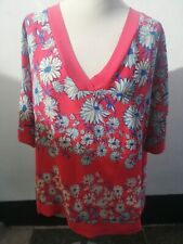 Loose Fit Tunic Top, Next, Size 18, Short Sleeve, V Neck, Red, Floral, Summer