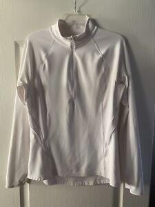 Athleta~White Jacket Pullover Top~1/4 Zip~Thumb Holes~Tan Trim~mesh Accent~Sz M