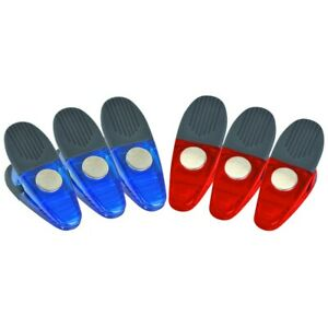 6 Pc Magnet Clip Set with Nonslip Jaws : Red & Blue : 1.45 lbs Strength