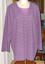 Bobbie Brooks Woman Poly Tunic Purple Striped Blouse Plus Size 1X (18/20) NWOT