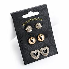 3 Pairs Diamante Stud & Heart Shape Earring Set Gold Colour
