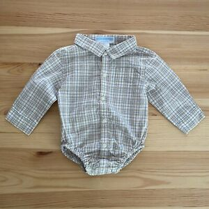 JANIE AND JACK First Toys Gray Plaid Bodysuit Top Size 3-6 Months
