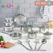 NON STICK COOKWARE SET Stainless Steel 18 Piece 10 Pieces NEW Pots and Pans SET