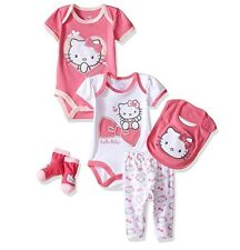 NWT Hello Kitty Girls' Pink Infant Baby 5 Piece Gift Set Size:6-9 Month Newborn