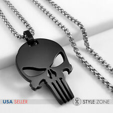 NEW Stainless Steel Jewelry Punisher Logo Black Pendent w Round Box Necklace 14T