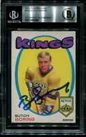 KINGS BUTCH GORING signed autographed 1971-72 OPC ROOKIE CARD RC BECKETT BAS
