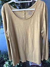 Neon Buddha Womens SZ 2X Mustard Color 100%  Cotton Shirttail Hem Top NWOT