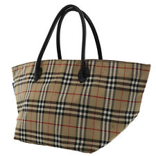 Burberry Classic Check Hand Bag Beige Brown Canvas Leather Authentic #GG395 O