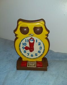 Vintage 1975 Tomy OWL Answer Clock Analog Learn To Tell Time, Homeschool