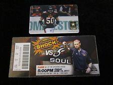 SPOKANE SHOCK U.S. Army PLAYER CARD & 2011 TICKET Arena LEAGUE Football