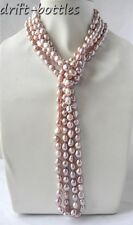 100'' 9mm Lavender Baroque Freshwater Pearl Necklace