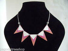 New Geometric Silver Necklace with Salmon Pink and White Triangles