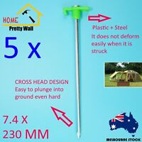 5 Pc X 23cm Heavy Duty Steel Metal Tent Canopy Camping Stakes Pegs Ground Nail
