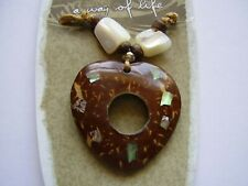 Earth & Surf coco wood & shell heart pendant wood bead brown cord necklace