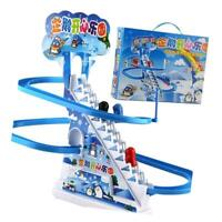 Penguin Climb Stair Sliding Track Puzzle Electric Race Track Toy with Music