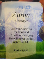 "Verse Card  Meaning and Scripture Verse with a personal  NAME-2.5"" x 3.5"""