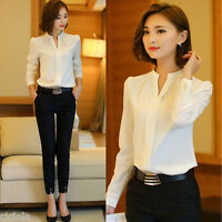 Women V Neck Tops OL Lady Work Formal Shirt Office Uniform Business White Blouse