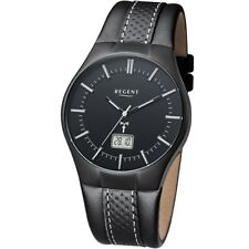 Regent RC Men's Watch FR-216 Analogue Radio Reception Leather Black