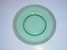 Green Depression Glass Salad Plate Roses