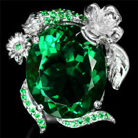 Luxury Oval Green Emerald 925 Silver Ring Wedding Cocktail Jewelry Gift Size6-10