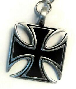Black Iron cross Pewter Keyring Mens Womens Boys Girls 30mm long  KR0598