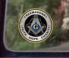 "ProSticker 091 (One) 4""  Masonic Freemasonry Faith Hope Charity Decal Sticker"