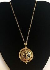 Gold Plated Tree of Life Necklace Magnifying Glass Vintage 26 Inches Plus Size