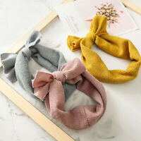 Women Children Fashion Elastic Stretch Plain Rabbit Bow Hair Band Headband LD