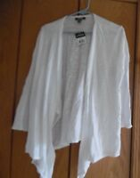 CHAPS WOMEN'S TOP COVER UP CARDIGAN 3/4 SLEEVE  WHITE OPEN FRONT SZ XL