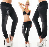 New Womens Sexy Boyfriend Jeans Baggy  BLACK  size 6 and 8 ladies pull on