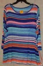 Ruby Rd. woman top MUST HAVES II beaded manganese blue multi 1x NWT