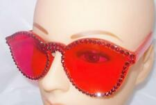 RED RETRO SHAPED FRAME SUN GLASSES WITH RED RHINESTONES FREE CASE & USA SHIP