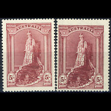 AUSTRALIA 1937-49 5s Claret. Perf 13.5. Both Papers. SG 176 & 176a. MLH (AY230B)