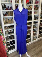 Colleen Lopez L Large HSN Blue Tie Dress Sheer Button Up Collar