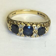 Vintage Solid 18ct Gold Diamond & Sapphire Dress Ring Size M1/2
