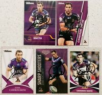 ✺Signed✺ 5 x Cameron Smith (Storm) Lot of NRL Rugby League cards