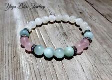 Moonstone, Aquamarine, Rose Quartz 8mm Healing Yoga Bracelet Meditation