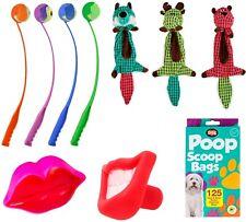 Pet Dog Toy Tennis Ball Launcher Chew Fetch Plush Squeaker Poop Scoop Bag Set UK