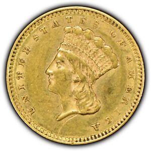 1856 G$1 Indian Princess Head Gold Dollar - Type-3 - Mint Error: Die Clash Y1185