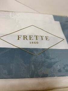 Frette 1860 Doppio Ajour Cotton Sateen KING Sheet Set White/Green Italy NEW IP