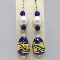 Ohrringe aus Gold Gelb 18k Perlen Saphire und Tropfen Handbemalt - Made in Italy