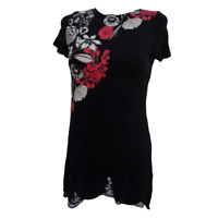 Desigual TS EVITA Black Flowered Short Sleeve T Shirt Top Blouse Size M L XL