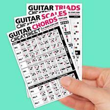 "Guitar Cheatsheet Bundle Pocket Reference 3 PACK (Laminated & Double Sided) 4"" x"
