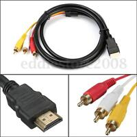 NEW 5 Feet 1080P HDTV HDMI Male to 3 RCA Audio Video AV Cable Cord Adapter