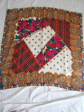 "Vintage80S Quilt Looking Scarf36""By 36""Acrylic Make Great Pillows Crafts"